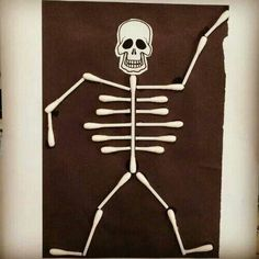 Hallowe En Skeletons Using Cotton Buds My Classroom Art