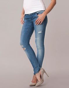 Over Bump Ripped Maternity Jeans | Seraphine