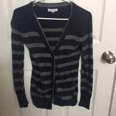 Aeropostale Cardigan Hardly worn Aeropostale cardigan. Navy blue and grey stripes. Aeropostale Sweaters Cardigans