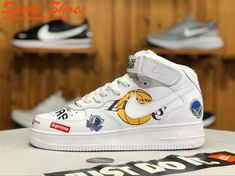new styles 90809 a9bae NBA x Nike Air Force 1 High Tops Shoes Mens Casual Shoes White AQ8017-100