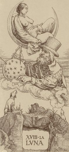 "Albrecht Dürer, Tarot, The Moon"" Albrecht Durer, 4 Image, The Moon Tarot, Occult Art, Mystique, Major Arcana, Art Graphique, Tarot Decks, Gravure"