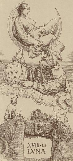 Barbusige Mondgöttin (Melona Luna)! Wir haben Vollmond! Habe ich letzte Nacht zufällig beobachtet! :-) Arcane XVIII : La Lune - Le Tarot d'Albrecht Dürer.