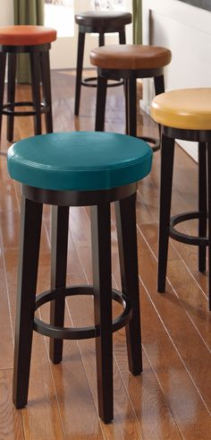 I Like The Idea Of Different Colored Swivel Stools (wood Though   Not  Leather)