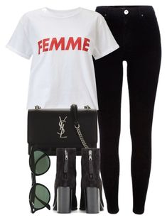 """""""Untitled #6970"""" by laurenmboot ❤ liked on Polyvore featuring River Island, Miss Selfridge, Yves Saint Laurent, rag & bone and Ray-Ban"""