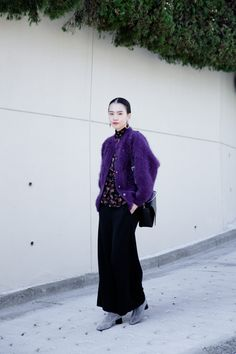 Casual Street Style, Street Style Women, Fashion Models, Fashion Outfits, Womens Fashion, Japanese Outfits, Purple Fashion, Fall Winter Outfits, Everyday Look