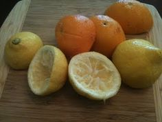 citrus enzyme cleaner: 3 parts citrus, 1 part brown sugar, 10 parts water.  let sit 3 months, shake and vent daily.  to use, strain and dilute it down 8 parts water to 1 part enzyme cleaner.