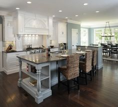 i love the blues and the browns and whites in this kitchen