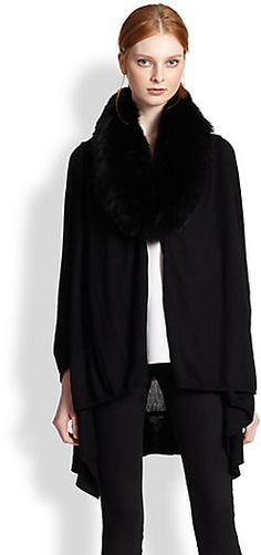 Alice + Olivia Izzy Fur-Collar Cascade Cardigan on shopstyle.com
