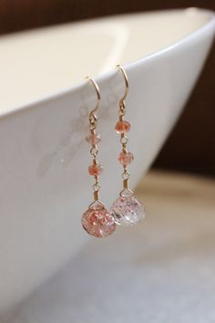Sunstone Earrings, 14k Gold Filled, Strawberry Quartz, Semiprecious Gemstone, Wire Wrapped, Orange Citrus, Dangle Dangly - Selene, by Princess Ting Ting Jewelry @ Etsy