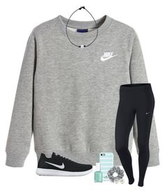 """i need sleep..."" by kendallthackston ❤ liked on Polyvore featuring NIKE, Kate Spade, Natasha, Essie and Kenneth Jay Lane"