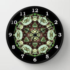 Begonia Escargot mandala 4 Wall Clock by RVJ Designs - $30.00