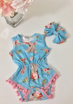 79c9c3deaac9 Blue Tee Pee Romper and Bow Headband Set