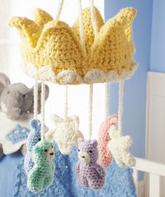 Mesmerizing Crochet an Amigurumi Rabbit Ideas. Lovely Crochet an Amigurumi Rabbit Ideas. Crochet Baby Mobiles, Crochet Mobile, Crochet Baby Toys, Cute Crochet, Crochet For Kids, Crochet Crown, Crochet Blanket Patterns, Baby Blanket Crochet, Baby Patterns