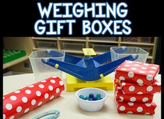Weighing Gift Boxes - a fun preschool Christmas activity that builds math skills.