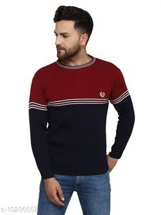 Checkout this latest Sweaters Product Name: *Kvetoo Maroon Round Neck Sweater Single* Fabric: Acrylic Sleeve Length: Long Sleeves Pattern: Colorblocked Multipack: 1 Sizes: S, M (Chest Size: 27 in, Length Size: 38 in)  L (Chest Size: 27 in, Length Size: 40 in)  XL Country of Origin: India Easy Returns Available In Case Of Any Issue   Catalog Rating: ★4.2 (757)  Catalog Name: Urbane Graceful Men Sweaters CatalogID_1854304 C70-SC1208 Code: 084-10236657-069
