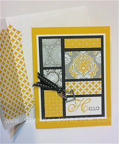 handmade card ...Print Tray Look .... grid card by Pam ... yellow, white and gray with wide black mat ... great design! ... Stampin' Up!