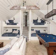 Dream Home Design, My Dream Home, House Design, Ideas Decorar Habitacion, Bunk Beds Built In, Bunk Rooms, House Rooms, Pool House Interiors, Dream Rooms