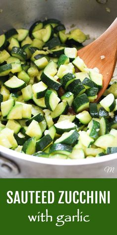 These stove-top sautéed zucchini with garlic are budget-friendly and super easy and quick to make. If you have some fresh zucchini, a little bit of garlic and olive oil on hand you can prepare a healthy side dish in just a few minutes. Tastes delicious served with meat, fish, or chicken and is also perfect for vegetarian and vegan grain bowls. Low-carb, vegan, gluten-free. #zucchini #sidedish #recipe #healthy #realfood #cleaneating #budgetfriendly #mealprep #plantbased