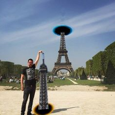 This guy asked if they could Photoshop his finger on the point on the Eiffel Tower and this is one that he gets.