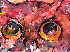 Aquarell aquagrafic Owl, English, Bird, Painting, Animals, Watercolor, Animales, Animaux, Owls