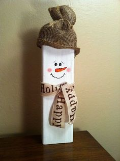 Simplicity. Just a piece of wood #WoodCraftsSnowman