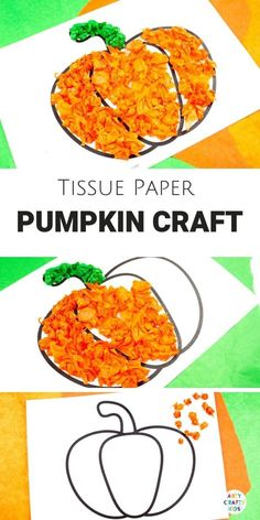 Arty Crafty Kids - Tissue Paper Pumpkin Craft for kids. A sweet Autumn or Halloween craft that's great for developing fine motor skills! DIY lesson plan for fall pumpkin patch field trip halloween Fall Arts And Crafts, Halloween Arts And Crafts, Halloween Crafts For Toddlers, Fall Crafts For Kids, Kids Crafts, Kids Diy, Pumpkin Preschool Crafts, Diy Halloween, Haloween Craft