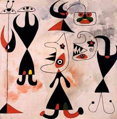 Joan Miró - Femmes, oiseaux, 1944. Oil and watercolor on canvas, 14¼ x 14½ in. (36 x 37 cm.). Photo: Christie's, New York (Auction 8 November 2006)