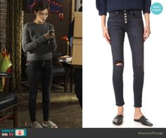 Aria's button fly jeans on Pretty Little Liars.  Outfit Details: https://wornontv.net/72586/ #PLL