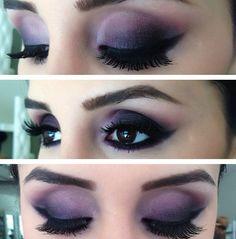 Purple eye makeup! Smokey eyes