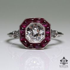 Antique Art Deco Platinum Diamond & 1.80ctw Ruby Ring – Rozental Antiques