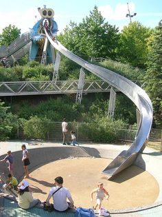 Paris, France - Dragon's tongue slide at a kids playground. Very cool, but probably a bad idea to slide down it on a hot summer's day. Playground Slide, Playground Design, Children Playground, Landscape Architecture, Landscape Design, Backyard Slide, Parc A Theme, Play Spaces, Backyard Projects