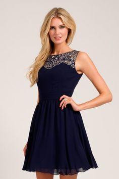 Little Mistress Navy Embellished Lace Detail Sweetheart Neckline Prom Dress