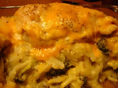 Chicken and Hashbrown Casserole - Made it in a skillet. Chicken, hash browns, cream of mushroom soup, onion, cheese, broccoli, butter, S&P