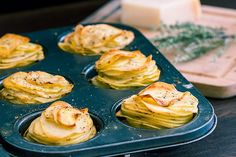 These Parmesan potato stacks make a great side dish or appetizer that your family and guests will definitely enjoy.  They are also very flavorful because of the thyme, garlic and parmesan which I always love to pair when cooking potatoes.