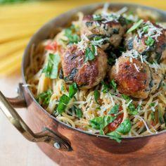 Spinach Turkey Meatball Pasta - One Dish Meals Recipes - Shape Magazine