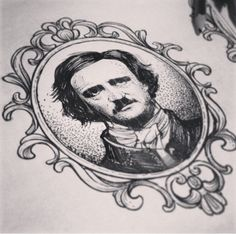 This is an awesome tattoo portrait of Edgar Allan Poe