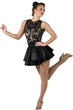 Style # 17254 LIPS ARE MOVIN' - BLACK Sequined stretch lace over nude spandex and solid color spandex short unitard with attached satin skirt. Separate satin skirt with ruched spandex waistband. Spandex binding trim. Headpiece included. SC-XXLA