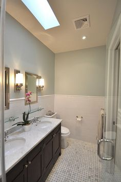 The paint color is Benjamin Moore Quiet Moments. Maybe replace my awful blue bathroom color for this:)