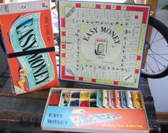 1950's Easy Money Board Game by Milton Bradley - Vintage Boardgame - Game Room Decor - Collectible Game Toy