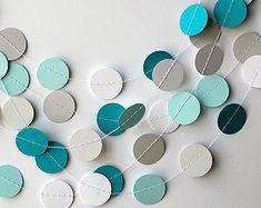 Azul tilo blanco y gris, Guirnalda turquesa blanco y gris, Decoraciòn boda, Cumpleaños decor, decoración niño, Guirnalda de papel, boda azul