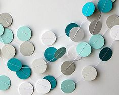 Teal white and gray paper garland, Heart garland, Wedding decoration, bridal shower, Birthday party decor, Paper circle garland, Baby shower