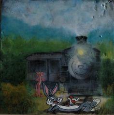 #Original #Abstract #Painting #Encaustic #MixedMedia #Bugs #Art #Wax #Cartoon #Pink #Panther #Parody #Train #Dare