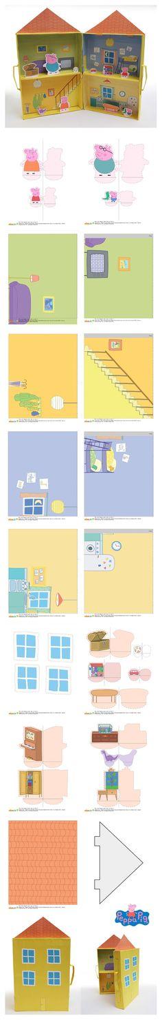4 boîtes de céréales vides et les imprimables suffiront pour jouer des heures durant avec la maison et la famille de Peppa