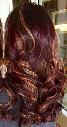 trendy hair color balayage ombre red caramel highlights - All About Hairstyles Burgundy Hair With Highlights, Dark Red Hair, Hair Color Highlights, Red Hair Color, Caramel Highlights, Caramel Color, Red Balayage Hair Burgundy, Hair Colors, Cherry Cola Hair Color