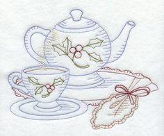 friendship tea - hand embroidered kitchen towel with vintage