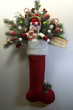 swags wreaths christmas | Details about Christmas Stocking Snowman Wreath Swag Primitive Door ...