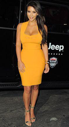Kim Kardashian yellow dress