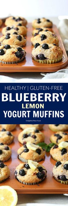 Light and healthy lemonblueberry yogurt muffins packed with Greek yogurt protein and whole food gluten-free ingredients! #glutenfree #muffins #blueberry #lemon #Greekyogurt #yogurt #healthy #easy #breakfast #snack | Recipe at delightfulmomfood.com