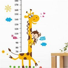 Kids Height Chart Wall Sticker Cartoon Giraffe