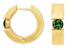 2f6c481c7 A10. 18k gold filled 14mm huggie hoop earrings green sim emeralds ...